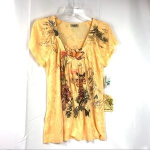 One World Yellow Floral Butterfly Top NWT Size L